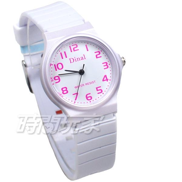Dinal 時尚數字 簡單腕錶 防水手錶 數字錶 女錶 男錶 學生錶 白色 D1307白粉