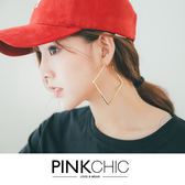 耳環 金屬大正方形耳環耳飾銀飾配飾 PINK CHIC 35307