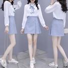 雪紡套裝 春裝新款女套裝時尚氣質雪紡襯衫短裙洋氣職業兩件套小個子-Ballet朵朵