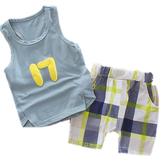 嬰兒短袖套裝 無袖背心 + 英倫格紋短褲 寶寶童裝 CK11202 好娃娃
