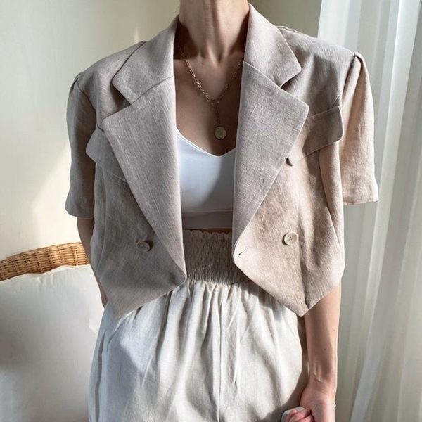 韓國CHIC夏季氣質百搭西裝領兩粒扣設計寬松休閑開衫夾克短外套女