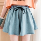 MIUSTAR 腰抽繩寬鬆大傘襬牛仔褲裙(共2色)【NJ1899GW】預購