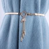 流蘇金屬腰鍊女士鑲鑽裝飾連衣裙