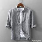 夏季翻領條紋亞麻七分袖襯衫男士寬鬆7分中袖薄款休閒棉麻襯衣潮 依凡卡時尚