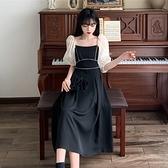 洋裝大碼連衣裙短袖小黑裙赫本風泡泡袖方領2F041-C 胖妹大碼女裝