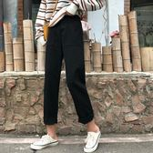雙十二狂歡購 黑色牛仔褲女秋2018新款韓版學生闊腿褲高腰寬鬆長褲鬆緊腰直筒褲