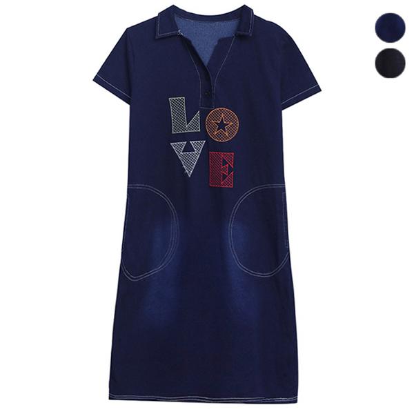 牛仔字母刺繡洋裝雙口袋翻領(2色) L~5XL【295686W】【現+預】-流行前線-
