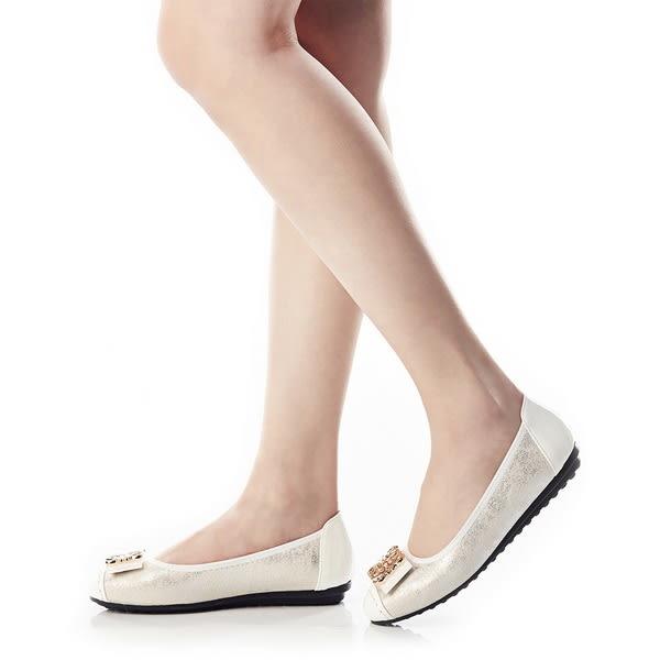 ★零碼出清★Keeley Ann閃閃動人金屬釦飾拼接OL真皮平底娃娃鞋(白色)