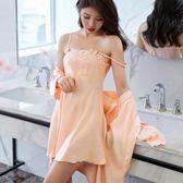 睡衣女夏性感吊帶裙蕾絲情趣睡裙兩件套春秋長袖睡袍冰絲薄款套裝