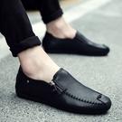 皮鞋 2020新款夏季一腳蹬豆豆懶人潮鞋男士休閒皮鞋韓版百搭軟面皮男鞋 零度3C