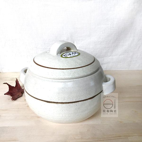 +佐和陶瓷餐具批發+【XL060413-2萬古燒白線紋三合鍋-日本製 】餐廳 家用 精緻 直火 炊飯