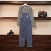 棉花糖 大女孩XL-4XL中大尺碼秋裝顯瘦條紋T恤牛仔背帶長褲兩件套7088.R007韓依紡