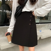 韓版2020新款小個子夏季高腰顯腿長A字裙排扣半身裙黑色西裝裙女