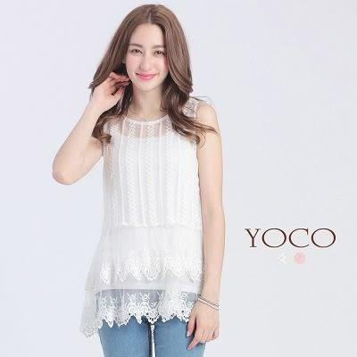 東京著衣【YOCO】自訂款透膚層次蕾絲無袖上衣-XS.S.M(6015968)