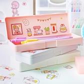 筆盒女ins潮日系磨砂簡約文具盒幼兒園少女可愛純色鉛筆盒奶油色小學生男復古筆袋文具學習用品
