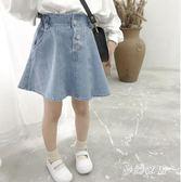 2019新款韓版洋氣牛仔短款兒童夏季休閒牛仔裙 QW3867『夢幻家居』