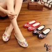 中國風復古喜鵲登枝刺繡繡花鞋布藝拖鞋低跟女涼拖鞋 萬聖節鉅惠