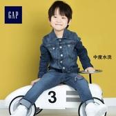 Gap男嬰幼童 基本款復古彈力直筒牛仔夾克外套 214945-中度水洗