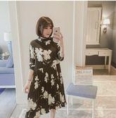 洋裝,長袖氣質寬鬆洋裝XL-5XL中大尺碼女裝胖mm中長款碎花連衣裙    韓依紡