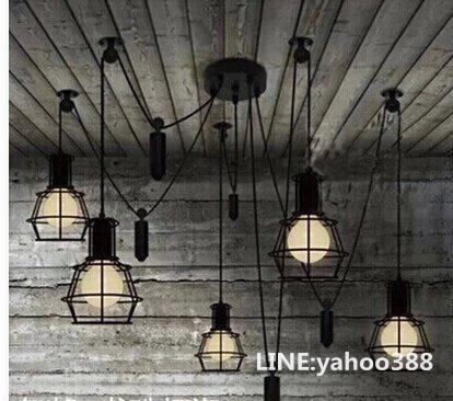 復古小鐵籠吊燈 隨意升降 設計師的燈 美式鄉村 五燈