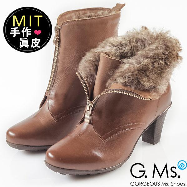 G.Ms. MIT系列-2WAY翻領仿皮草拉鍊粗跟短靴*棕色