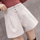 短褲女2020秋冬新款韓版高腰闊腿褲寬鬆百搭外穿毛呢休閒靴褲子潮 黛尼時尚精品
