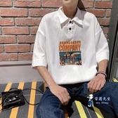 polo衫 夏季ins短袖t恤男潮流翻領polo衫寬鬆港風chic半袖原宿風體恤 3色