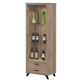 【森可家居】珂琪2 尺展示櫃8ZX589 3 客廳收納櫃玻璃酒櫃模型櫃木紋 北歐工業風