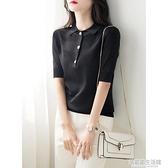 夏季2020新款polo領短袖黑色t恤女冰絲針織衫寬鬆顯瘦氣質上衣薄 中秋節全館免運