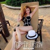 比基尼 韓國黑白三角大小胸聚攏保守連體性感比基尼顯瘦遮肚溫泉裝泳衣女 城市玩家