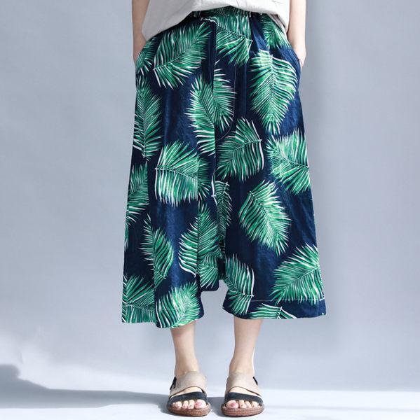 褲子 - B16334 深藍綠葉薄棉寬垮褲【F碼】MEET中大尺碼