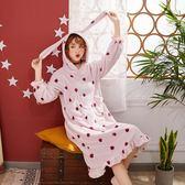 睡衣 秋冬季珊瑚絨睡裙女冬韓版甜美可愛卡通兔加厚保暖法蘭絨睡衣草莓【小天使】