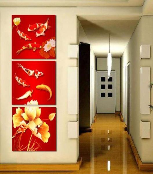 熱賣無框三聯畫 客廳裝飾畫 板畫 版畫 壁畫 九魚圖 玄關 中國風