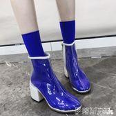 馬丁靴透明靴子女夏2018新款短靴網紅同款高跟鞋chic馬丁靴女英倫風春秋 伊蒂斯女裝