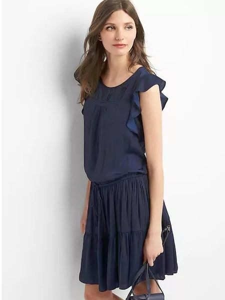 【BJGO】GAP_女裝_Pintuck tier dress 荷葉抽繩洋裝現貨S號