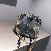 包包女2018新款斜挎包鍊條單肩繡花水桶包
