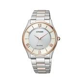 【Citizen星辰】PAIR對錶系列光動能經典羅馬雙色腕錶-白金款/BJ6484-50A/台灣總代理公司貨享兩年保固
