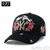鴨舌帽 帽子女式玫瑰花刺繡棒球帽潮韓國時尚嘻哈帽情侶款休閒百搭鴨舌帽 居優佳品