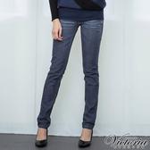 Victoria 低腰配線水洗個性窄管褲-女-深藍-VW2235