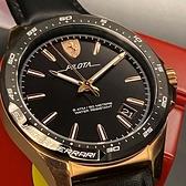 星晴錶業-FERRARI法拉利男女通用錶,編號FE00009,42mm玫瑰金, 黑錶殼,深黑色錶帶款
