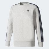 Adidas ESS 3S Crew [BQ9642] 男款 運動 休閒 棉質 長袖 上衣 大學T 必備 愛迪達 灰