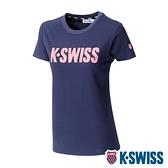 【超取】K-SWISS Contrast Logo Tee棉質吸排T恤-女-藍