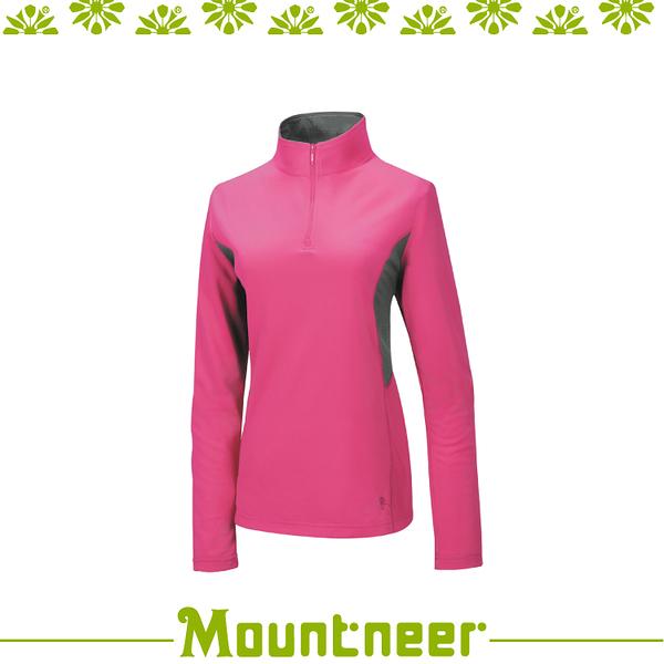 【Mountneer 山林 女 透氣排汗長袖上衣《桃紅》】31P32/排汗衣/涼感衣/抗紫外線/運動長袖/登山露營