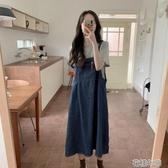 夏裝韓版學院風寬鬆長款牛仔背帶裙顯瘦休閒學生連身裙女 花樣年華