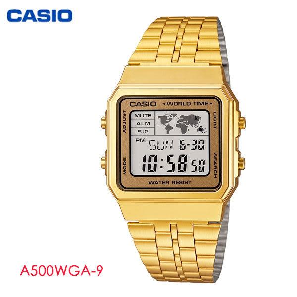 CASIO 復古金色方形多功能電子錶 A500WGA-9 復古金錶 不鏽鋼帶 公司貨   名人鐘錶