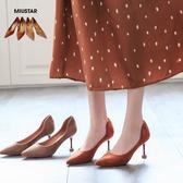 現貨-MIUSTAR OL個性質感絨面細跟尖頭低跟鞋(共2色,36-38)【NF0663T1】