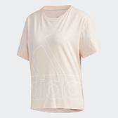 Adidas 女款粉色男友風大LOGO短袖上衣-NO.GK3332