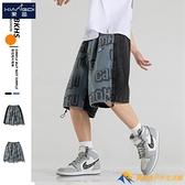 胖子牛仔短褲男寬松直筒潮牌ins個性拼接hiphop美式街頭潮流5分褲【勇敢者】