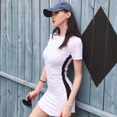 窄裙2018夏季新品修身性感包臀裙收腰拼色短袖T恤裙子連身裙短裙女裝 全館免運