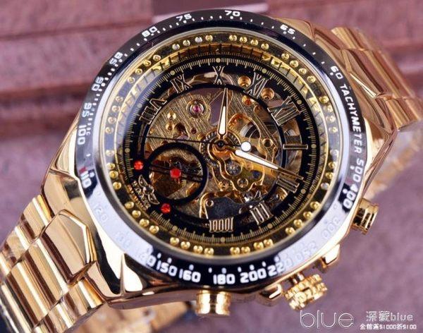 WINNER WATCH 男士半自動機械手錶男錶金色機械手錶歐美流行外貿  深藏blue